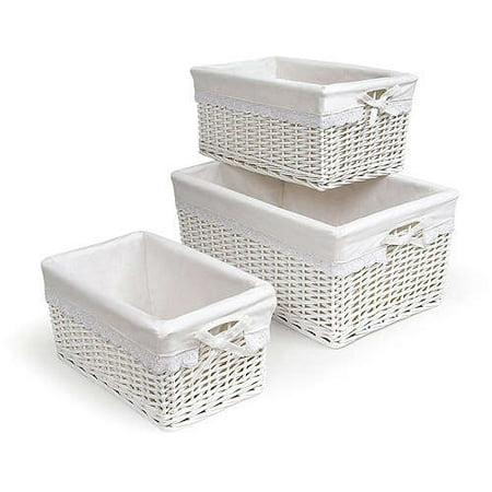 Badger Basket - Set of Three Baskets, White ()