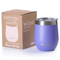 Cupture Stemless Wine Tumblers 12 oz Vacuum Insulated Mug with Lids - 18/8 Stainless Steel (Winter White)