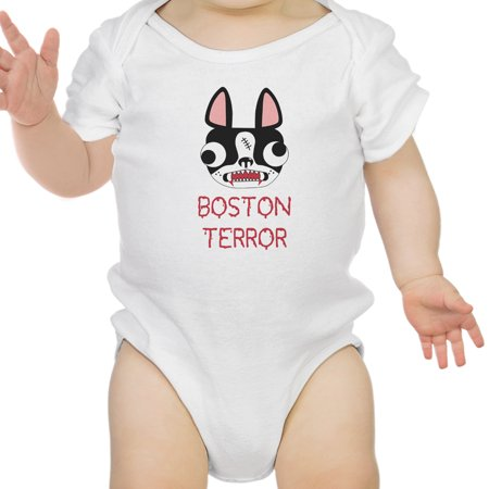 Boston Terror Terrier Funny Halloween Baby Bodysuit Cotton Baby - Funny Halloween Boston Terrier