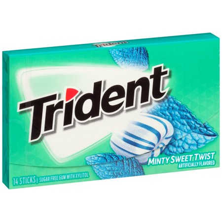 (8 Pack) Trident Minty Sweet Twist Sugar Free Gum with Xylitol 14 ct (Minty Sweet)