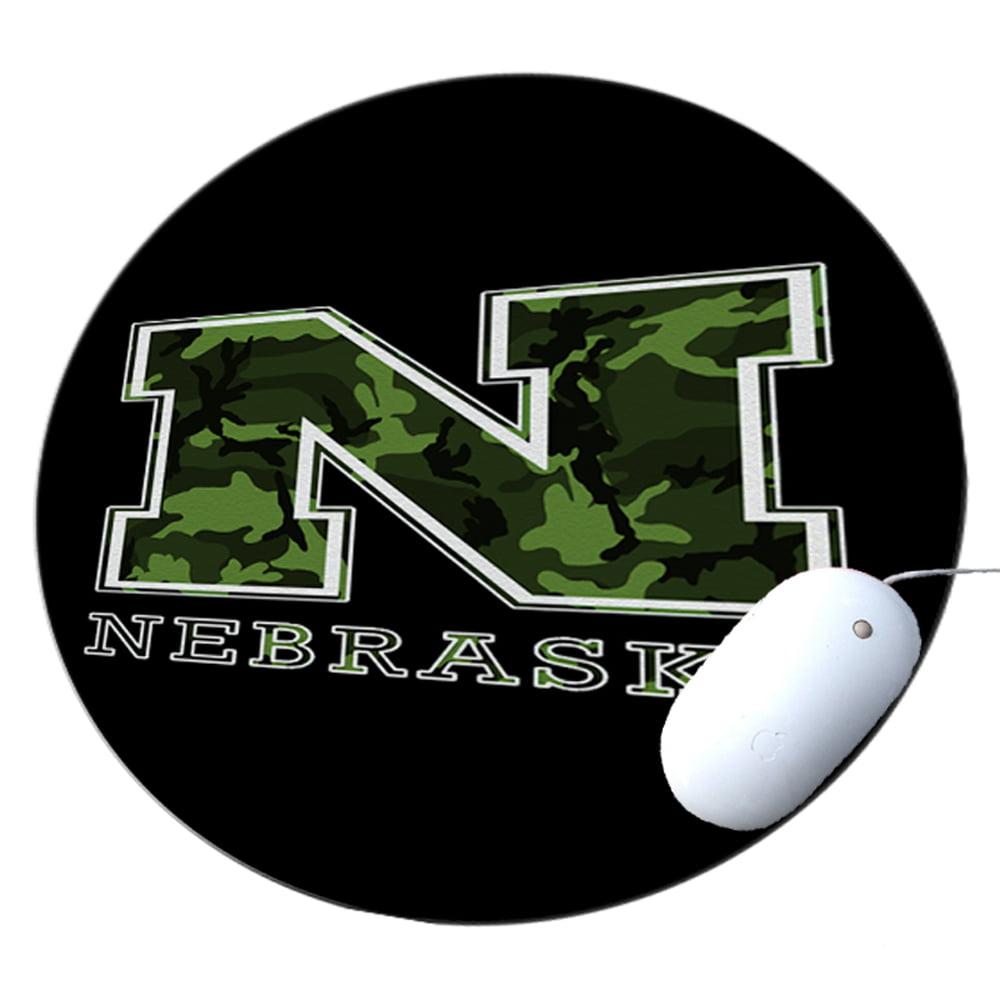 KuzmarK Round Mousepad / Hot Pad / Trivet - Nebraska Camouflage