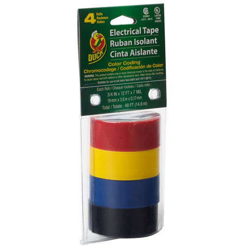 "Duck Brand Electric Tape, Black, Blue, Yellow, Red, 4pk, 2"" x 30"""
