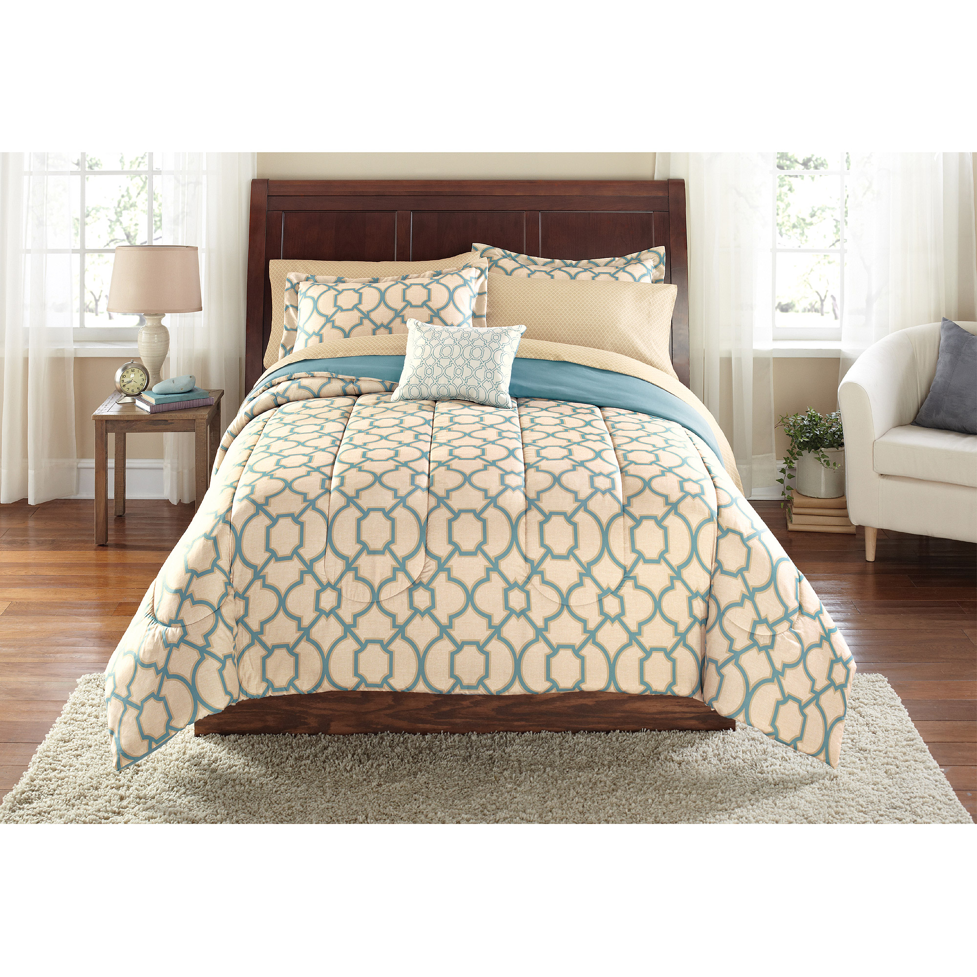 Mainstays Bed in a Bag Fretwork Bedding Set Walmart