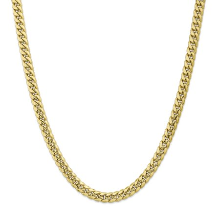 10k Yellow Gold 7.3mm Miami Cuban Chain Necklace 24 Inch Curb