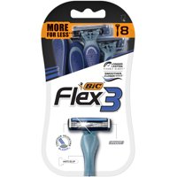 BIC Flex 3 Men's Disposable 3 Blade Razor, 8 Count