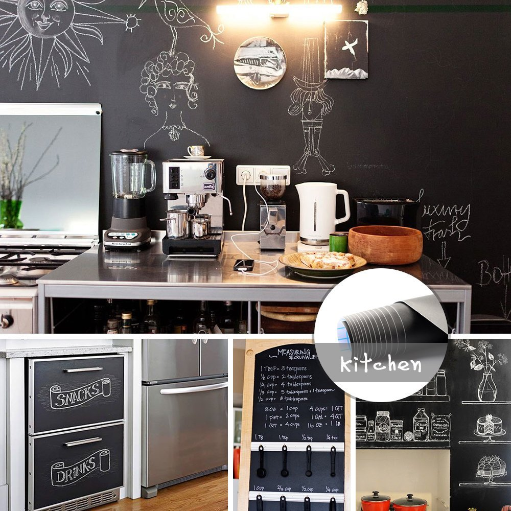 Reusable Extra Large Chalkboard Decal Roll/Chalkboard Stickers By IDEALSEAL (Black) Blackboard Chalkboard Wall Sticker Wallpaper (20 Feet x 7 Inches) PLUS FREE Liquid chalk Marker with each roll.