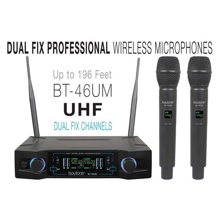 Boytone BT-46UM UHF Digital Channel Wireless Microphone System Dual Fixed Frequency Wireless Mic Receiver