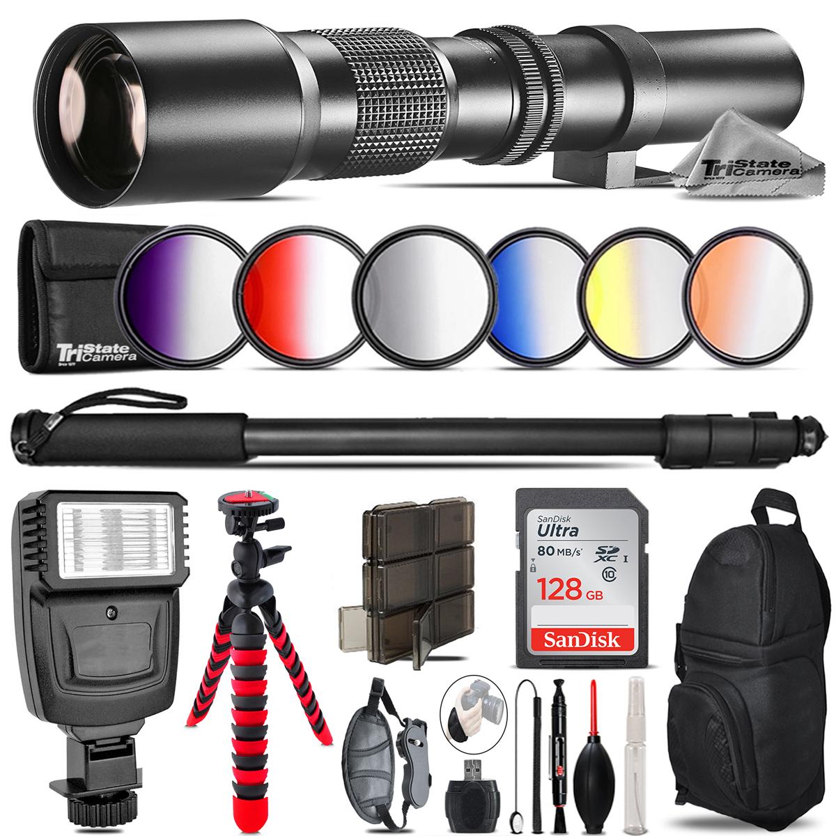500mm Telephoto Lens for Nikon D3100 D3200 + Flash +  Tripod & More - 128GB Kit