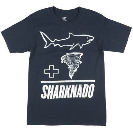 (Sharknado Addition Chalk Drawing T-Shirt Movie Great White Navy)