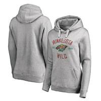 Minnesota Wild Women's Heritage Pullover Hoodie - Ash