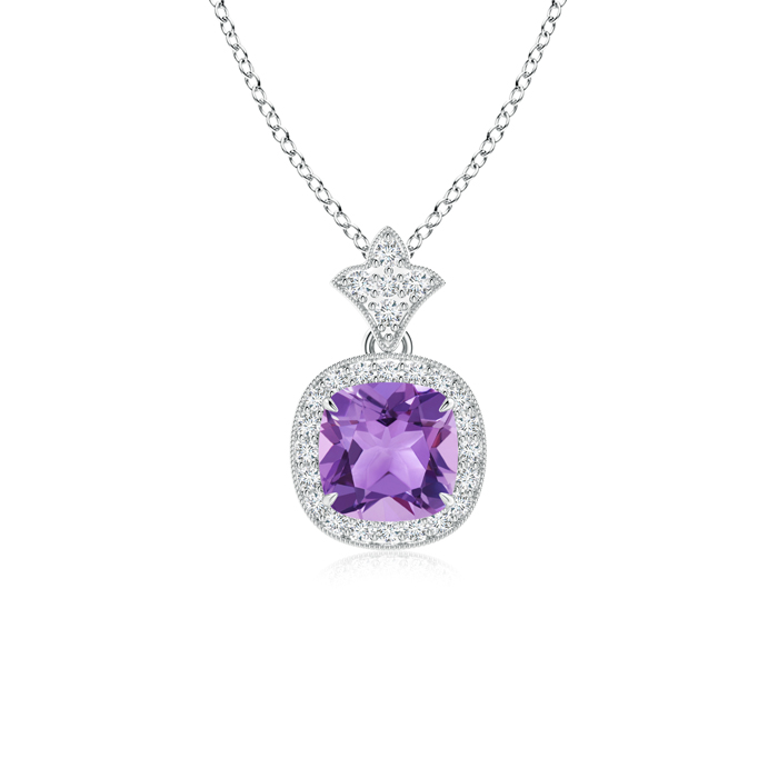 February Birthstone Pendant Necklaces Claw Set Amethyst Diamond Pendant with Milgrain Detailing in 950 Platinum (6mm... by Angara.com