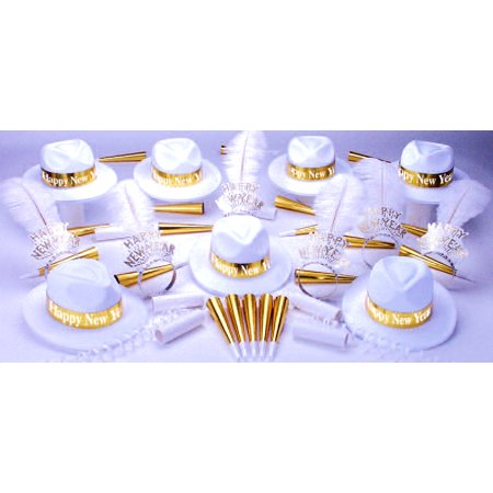 New Years Eve White and Gold Party Accessories Kit Party Supplies for 50 People with Balloons Included