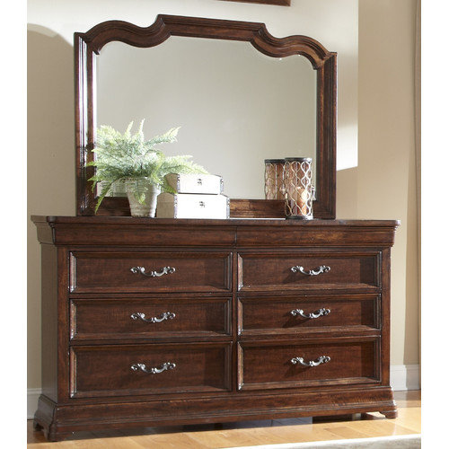 American Woodcrafters Signature 6 Drawer Dresser with Mirror