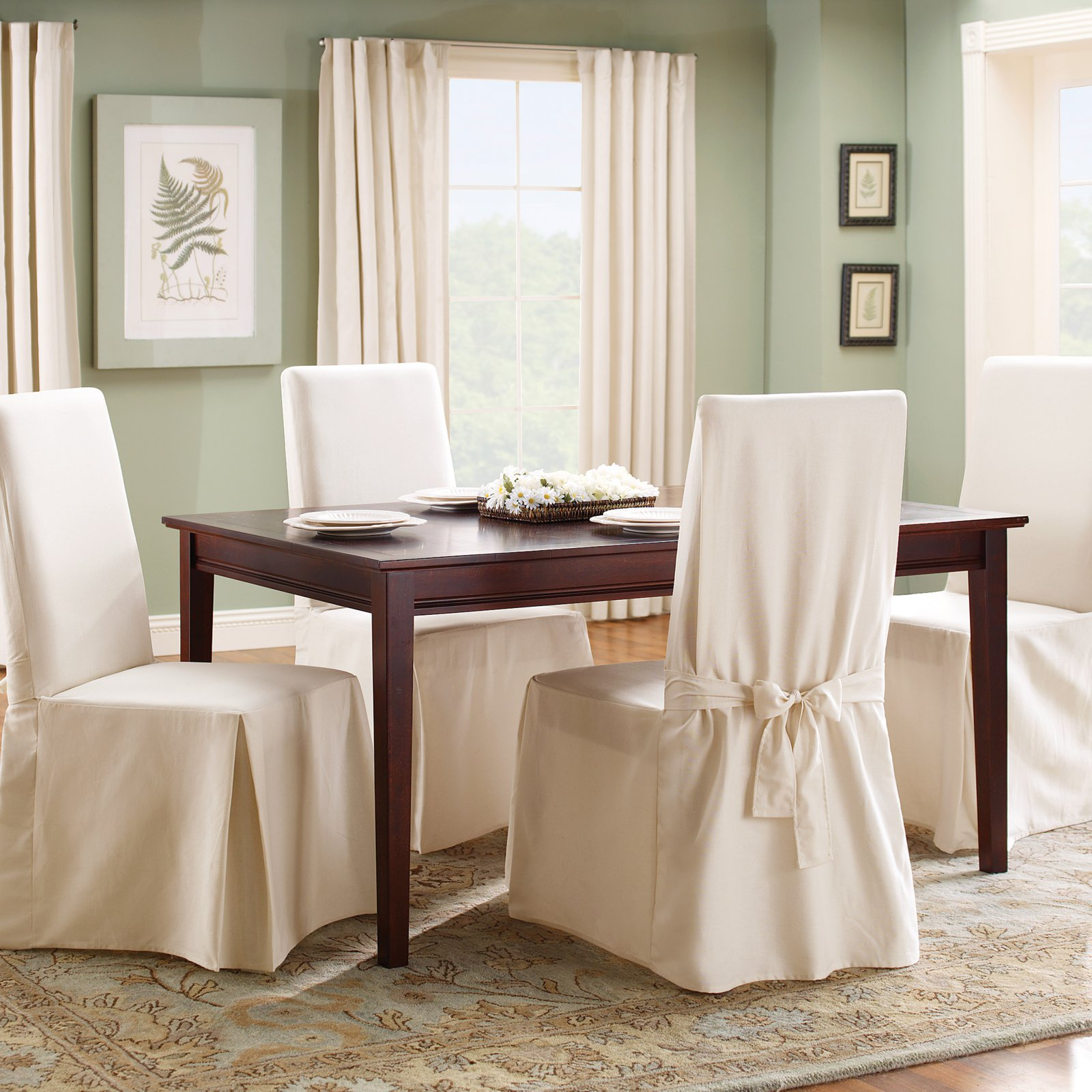Dining Room Chair Slipcovers Cheap sure fit cotton duck dining chair slipcover - walmart