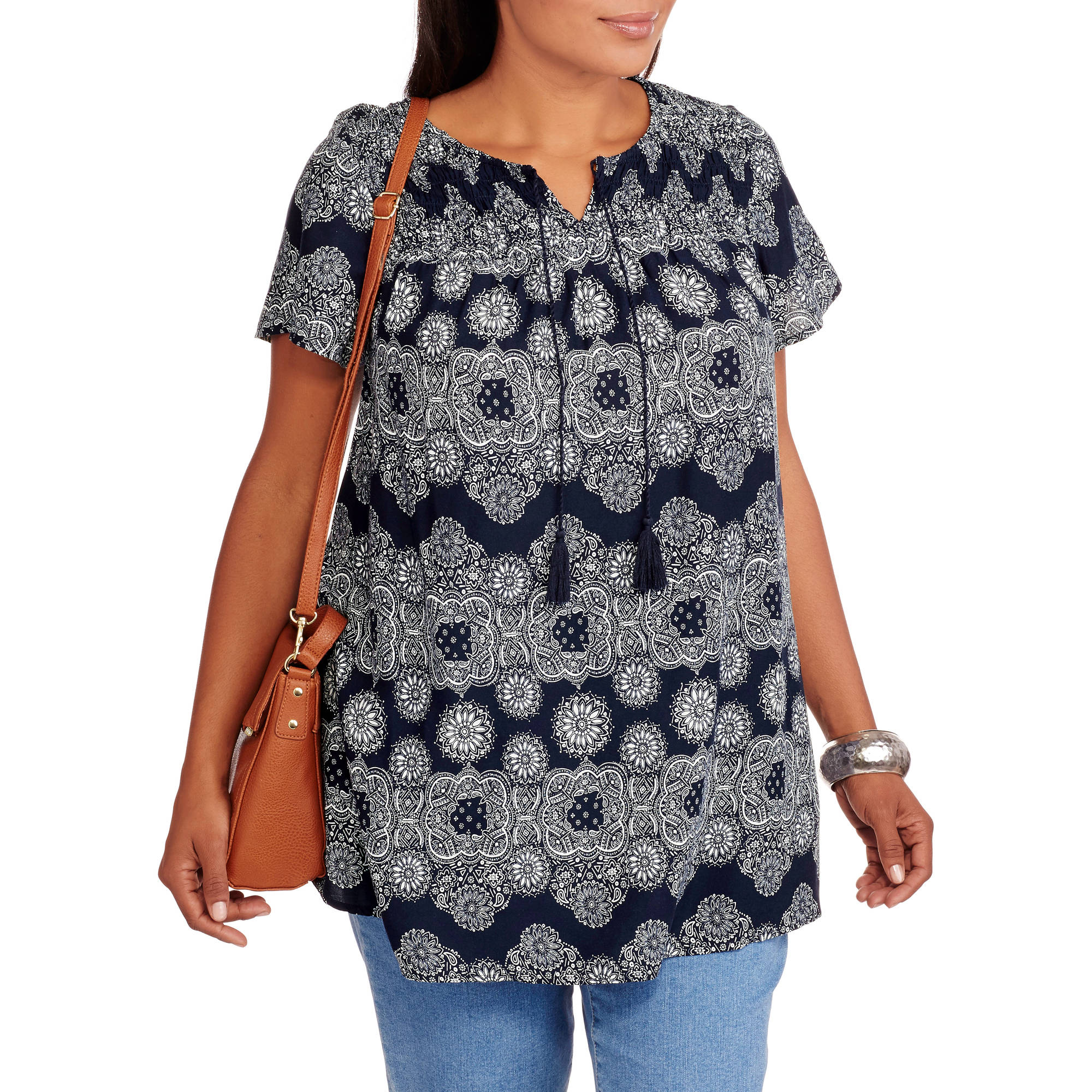Faded Glory Women S Plus Size Woven Peasant Top Walmart Com