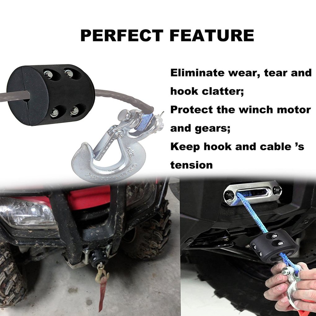 for Jeep ATV UTV Winch Cable Hook Mount Stop Stopper Rubber Cushion Black Winch Line Saver Stopper Qotone