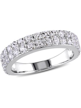 1-1/2 Carat T.G.W. Created White Sapphire Sterling Silver Semi-Eternity Anniversary Ring