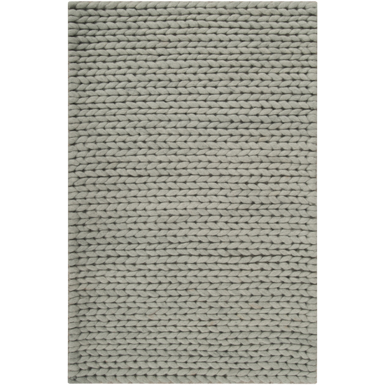 2' x 3' Bright Day Solid Dove Gray Hand Woven New Zealand Wool Area Throw Rug