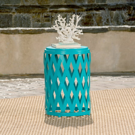 Aubriella Outdoor 14 Inch Diameter Iron Side Table, Matte Teal ()