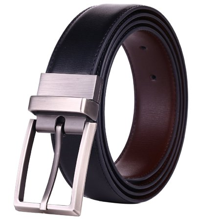 mechaly classic men dress reversible bicast leather buckle belt with wide rotation - black and brown (medium)