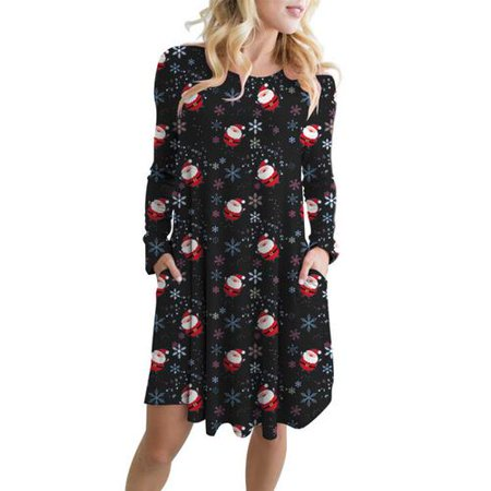 Women Christmas Long Sleeve Dresses Santa Claus Casual A-Line Dress - Santa Dress Women