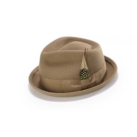 Bogart Stingy Brim Fine Wool Felt Hat With Feather By Montique H-54 (Small, Camel) (Felt Hat With Feather)