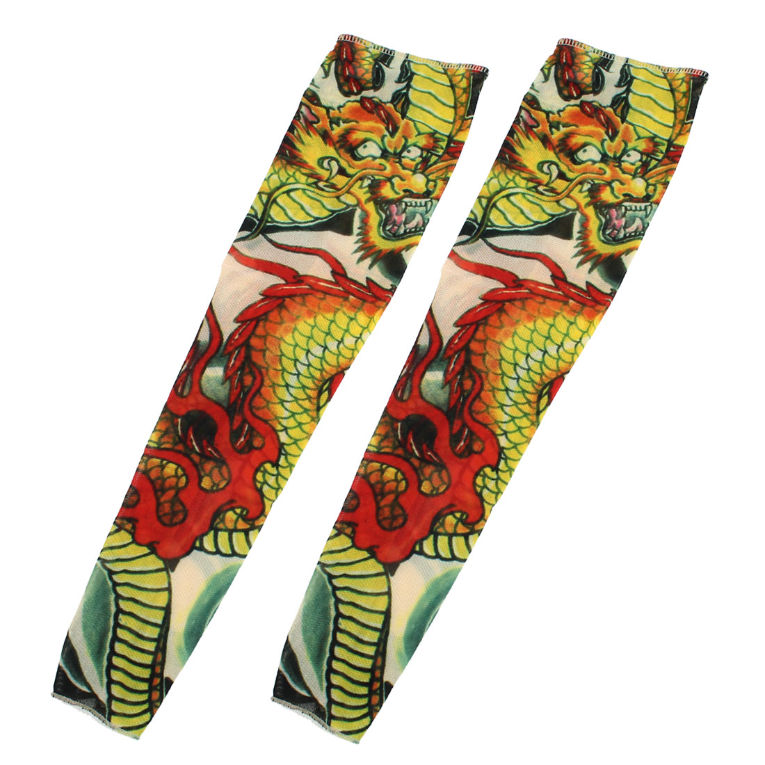 Unique Bargains 1 Pair Summer Stretchy Unisex Dragon Pattern UV Sun Protection Tattoo Arm Sleeves
