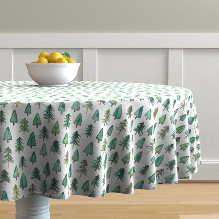 Image of Round Tablecloth Christmas Tree Christmas Tree Fir Tree Evergreen Cotton Sateen