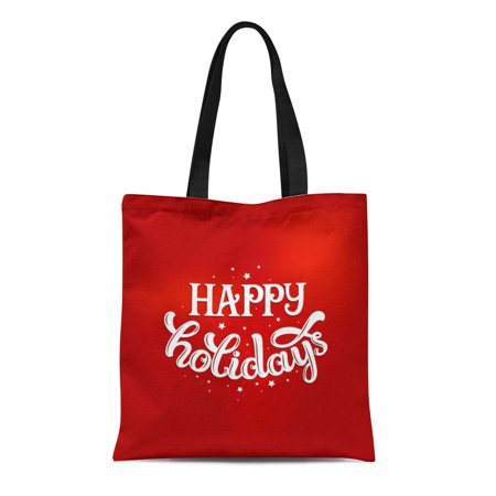 POGLIP Canvas Tote Bag Red Text Happy Holidays Merry Christmas and Valentines Day Durable Reusable Shopping Shoulder Grocery Bag - image 1 de 1