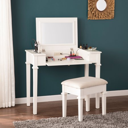 Southern Enterprises Rashmi Powered Vanity Desk w/ Stool, - Southern Enterprises Vanity