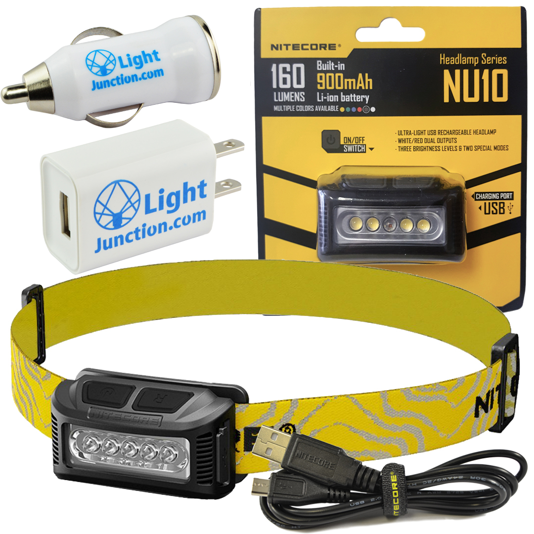 Nitecore NU10 USB Rechargeable Wide Angle White and Red LED Headlamp with LightJunction USB Wall and Car Plug