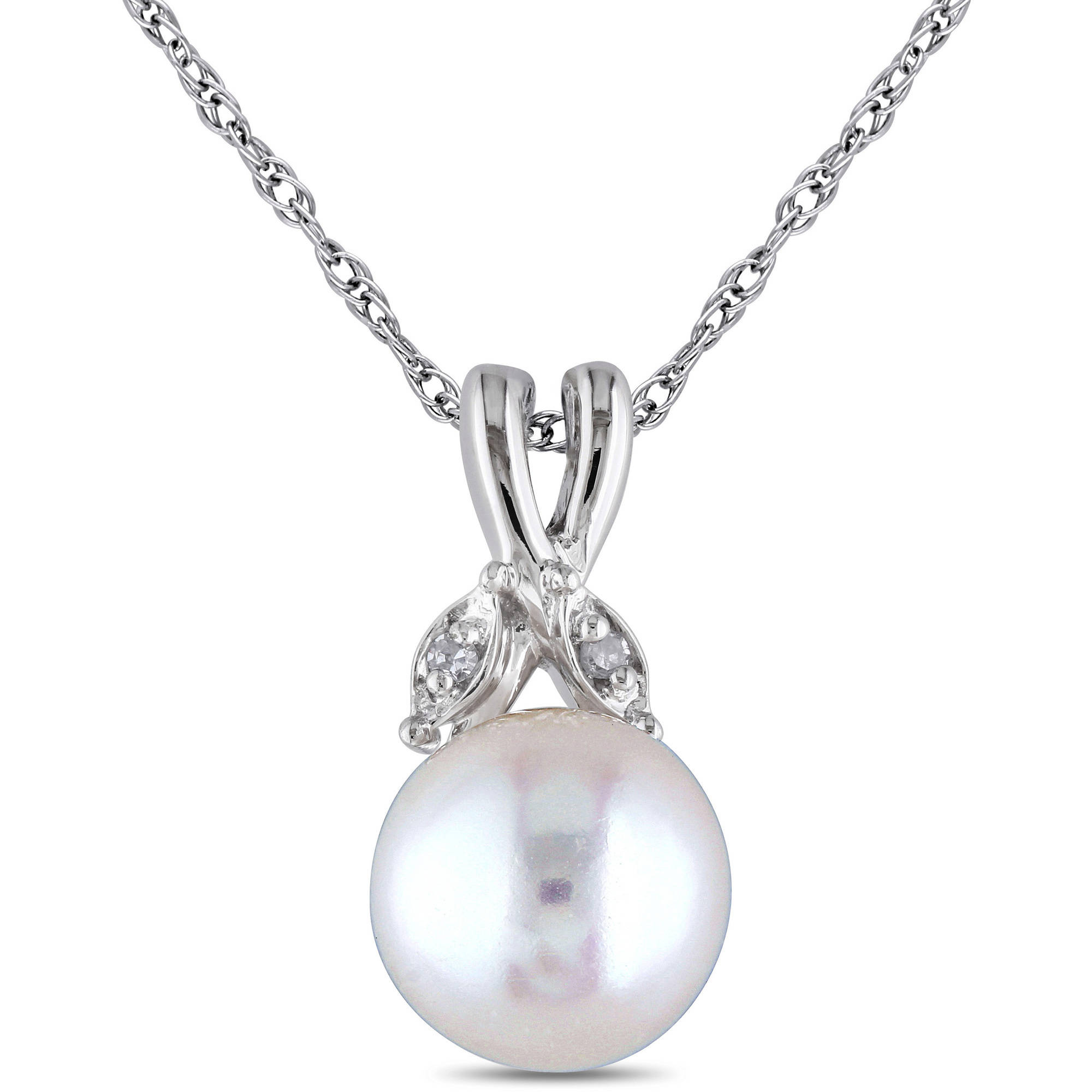 "Miabella 7.5-8mm White Cultured Freshwater Pearl and Diamond-Accent 10kt White Gold Pendant, 17"" by Generic"