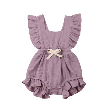 Baby Girl Ruffled Collar Sleeveless Romper Solid Color Back CrossTwins Snap Button Crotch One Piece Jumpsuit Sunsuit