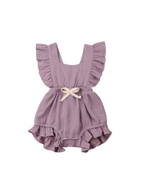 3e128e34d343 Product Image Baby Girl Ruffled Collar Sleeveless Romper Solid Color Back  CrossTwins Snap Button Crotch One Piece Jumpsuit
