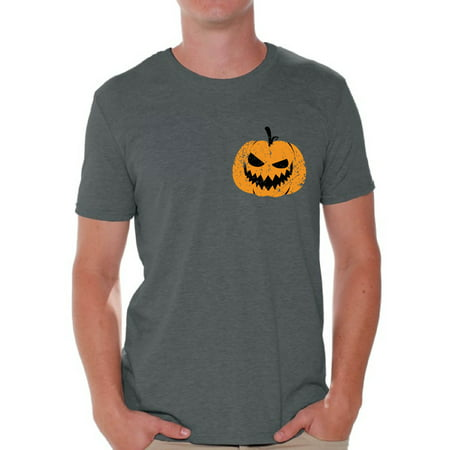 Awkward Styles Pumpkin Patch Tshirt Jack-O'-Lantern Pocket Shirt Halloween Shirt for Men Spooky Outfit Scary Gifts for Him Pumpkin Face T Shirt Jack-O'-Lantern Pumpkin Shirt Men's Halloween Tshirt