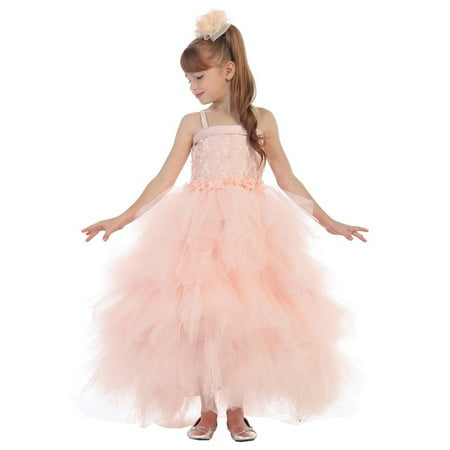 Chic Baby Girls Blush Embroidery Fluffy Bolero Junior Bridesmaid Dress