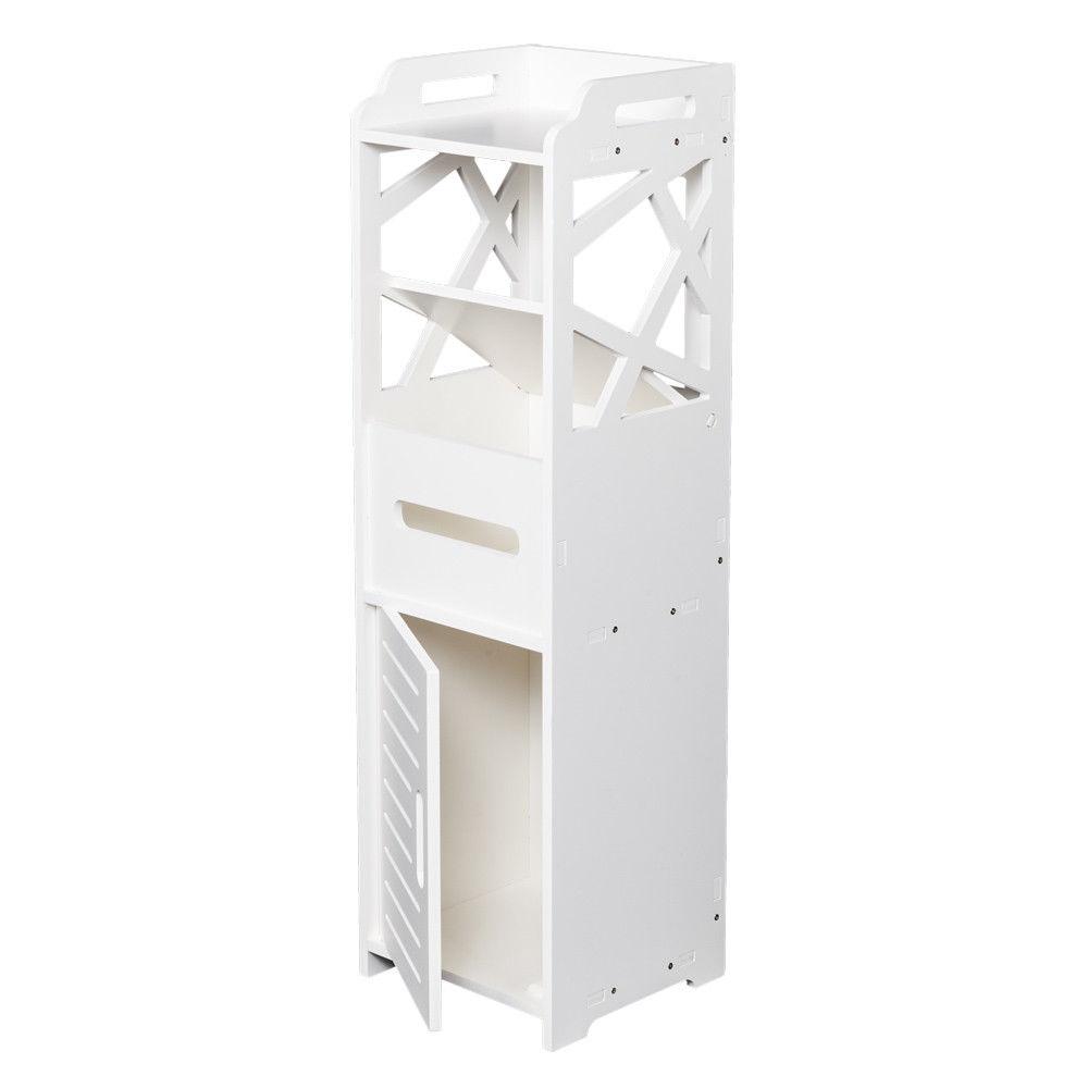 Ktaxon Modern 3-Tier Bathroom Cabinet Storage Cupboard Wooden Slim Shelf Cupboard,White
