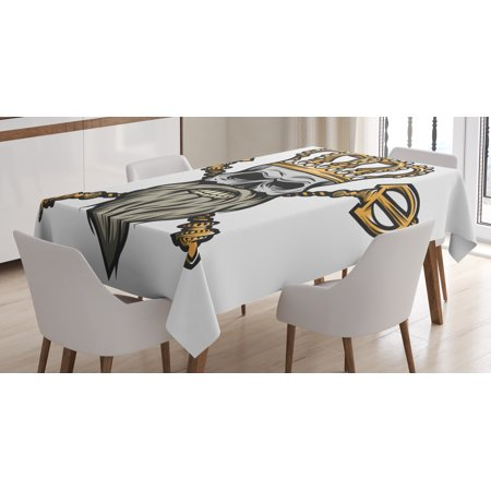 Kings Scepter (King Tablecloth, Ruler Skull Head with Gray Beard Crossed Royal Scepter Cartoon Seemed Image, Rectangular Table Cover for Dining Room Kitchen, 60 X 84 Inches, Golden and Light Grey, by)