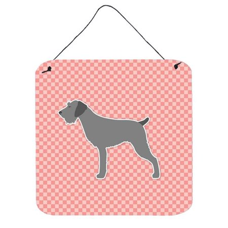 German Wirehaired Pointer Checkerboard Pink Wall or Door Hanging Prints