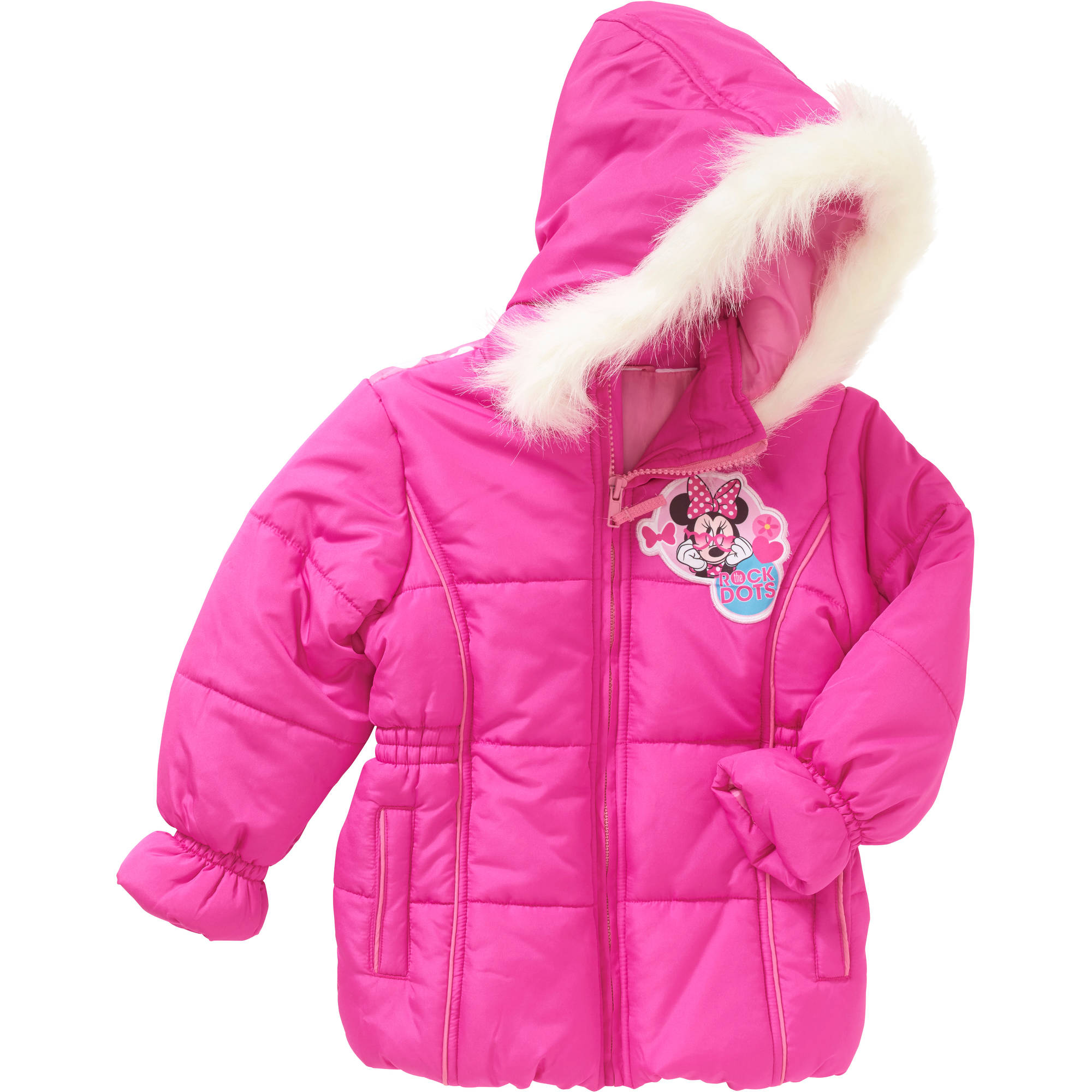 Minnie Mouse Toddler Girl Graphic Back Hooded Faux Fur Puffer Jacket