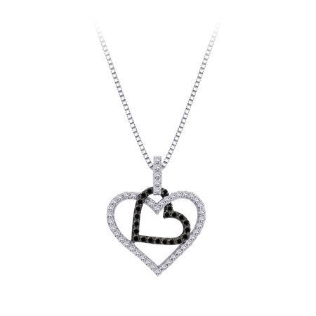 10K White Gold 5/8 ct. Black and White Diamond Heart Pendant with Chain