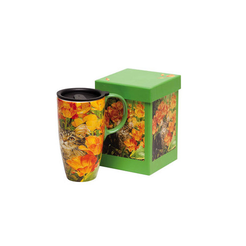 Cypress Home Cat in Flowers Latte Travel Mug