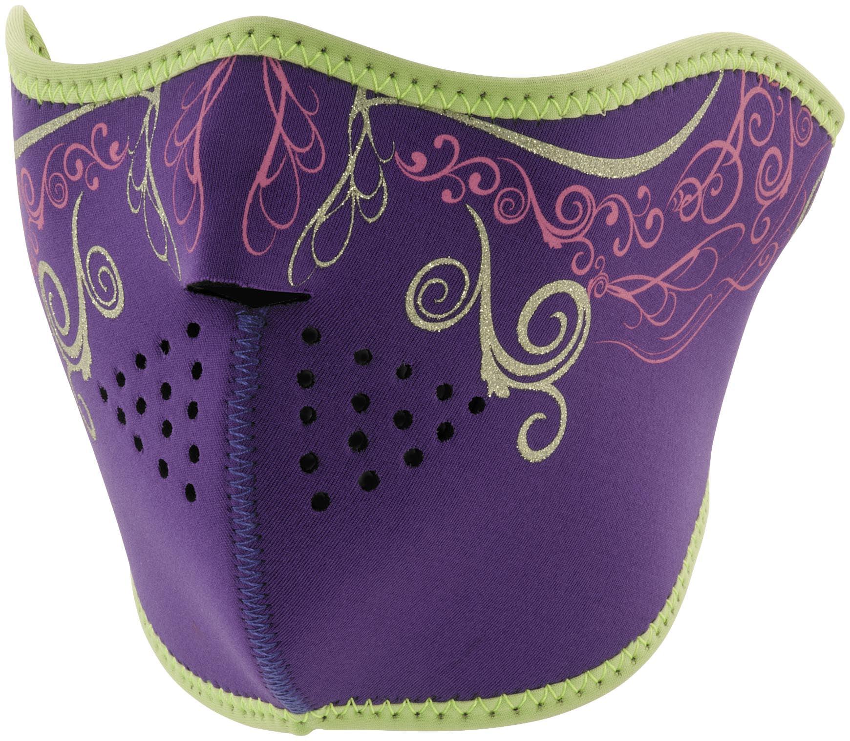 Zan Headgear Half Face Mask Purple Venetian (Purple, OSFM) by Zan Headgear