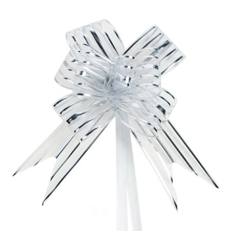 Ribbon Bows (Wedding Party Gift Wrapping Ribbon Pull Bows Decor Silver Tone 5cm Width)
