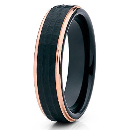 Tungsten Wedding Band Brushed Black Hammered Ring 18k Rose Gold Edge 6mm Comfort Fit