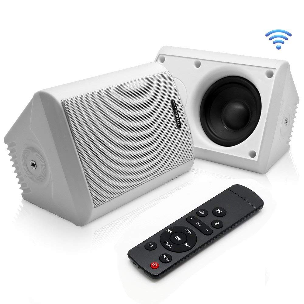 Indoor/Outdoor Wall Mount Speakers - Waterproof Rated Speaker System with Built-in Bluetooth, WiFi Music Streaming