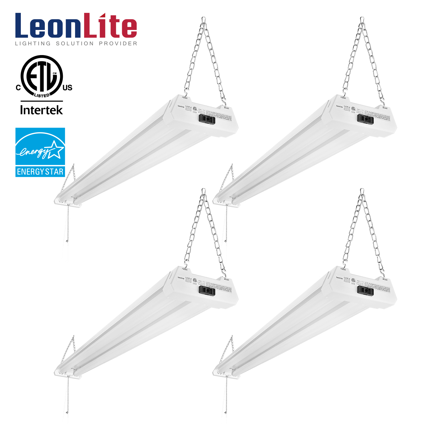 LEONLITE 4 Pack 4ft 40W LED Shop Light, Double Integrated LED Ceiling Fixture, 4000K Cool White