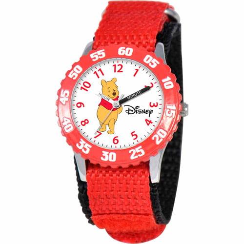 Disney Winnie the Pooh Girls' Stainless Steel Watch, Red Strap