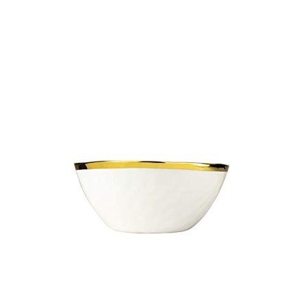 9 Inch Porcelain Salad Bowl New Bone China Collection Dinnerware Ceramic Soup Bowl with Gold Rim Unique Mixing Basin Fruit Vase 9 Inch Round Porcelain
