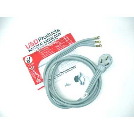 Range Oven Electric Power Cord 3 Prong Wire 40 Amp 6' Foot Heavy Duty
